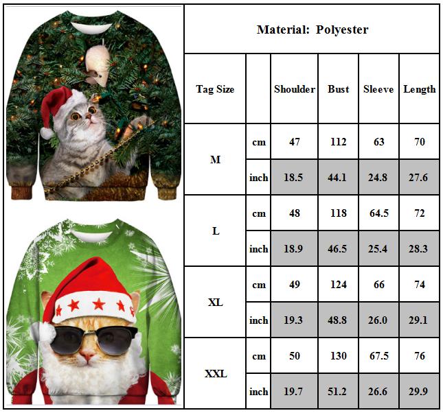 Unisex Ugly Christmas Sweater Santa Women Men Xmas Jumper Casual Sweatshirt Tops 3