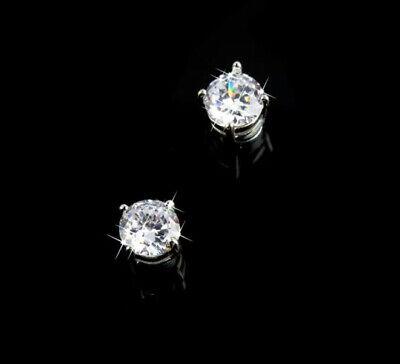Men's Boys 18K White Gold Plated 'Magnetic' Beckham Round 8mm Crystal Earrings