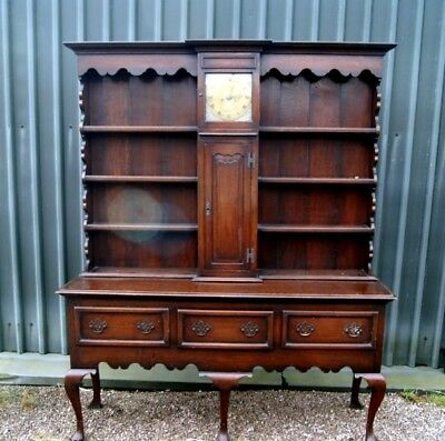 Very Rare And Unusual Late 19Th Century Oak Dresser With Grandfather Clock
