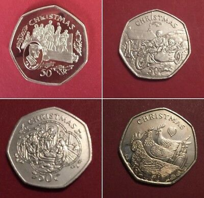 1980 -2016 ISLE OF MAN 50p Christmas coins fifty pence coin including rare coins 2