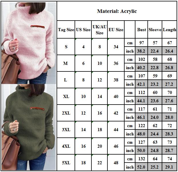 Women Fleece Fur Sweater Plus Size Long Sleeve Baggy Winter Tops Jumper Pullover 3