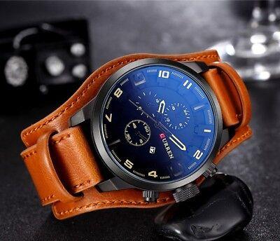 Fashion Curren Mens Date Stainless Steel Leather Analog Quartz Sport Wrist Watch 9