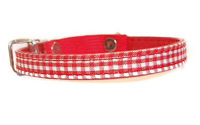 """Pet Palace """"Clothcat"""" Red Cat Collar with gingham tablecloth pattern 3"""