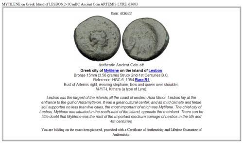 MYTILENE on Greek Island of LESBOS 2-1CenBC Ancient Coin ARTEMIS LYRE i63683 3