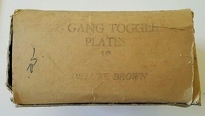4 Vintage Toggle Switch Plate Two Gang Brown Steel NOS Faceplate 5