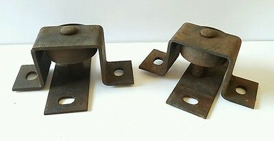 Antique Vintage Heavy Duty Industrial Cast Iron Factory Bracketed Wheels 2