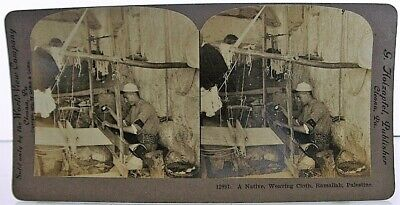"Rare Ramallah Palestine ""A Native , Weaving Cloth"" 1905 stereoview 2"