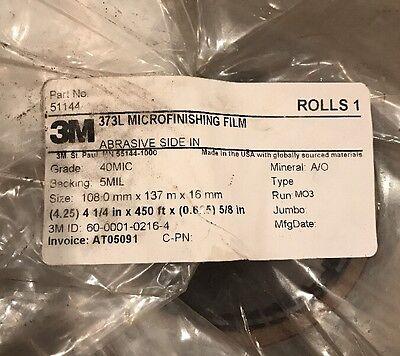 NEW 3M microfinishing Film Roll 4.25in x450ft x5/8in Abrasive side In 40MIC 2