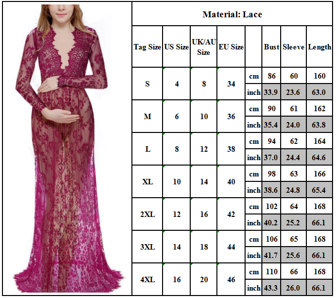 Maternity Women Lace Photography Long Pregnant Boho Maxi Gown Party Dress Props 8