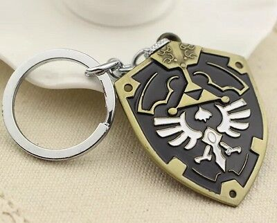 "Legend of Zelda Link Black Hylian Shield 2"" Metal Keychain US Seller"