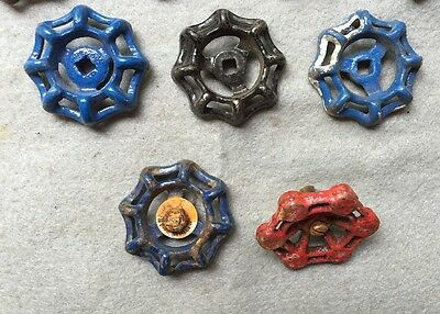 Lot Of 9 Vintage Heavy Metal Water Faucet Handles Knobs Valves Steampunk Lot#14 3