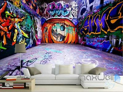 3D Graffiti Pumpkin Jack Halloween Wall Mural Paper Art Print Decals Decor