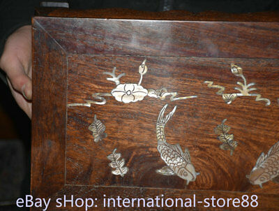 """14.4"""" Old Chinese Dynasty Huanghuali Wood Inlay Shell Fish Table Desk furniture 3"""