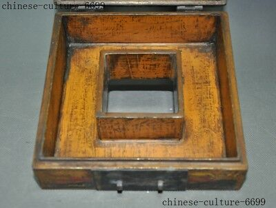 "7"" Rare old Chinese lacquerware wood carving Sika deer Storage Jewelry box case 9"