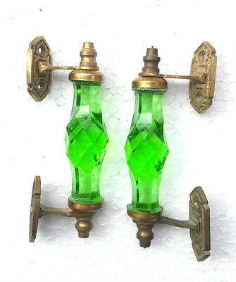 2Pc Vintage Antique Style Beautiful Crystal /Cut Glass Door Handles, Collectible