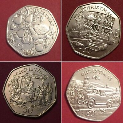 1980 -2016 ISLE OF MAN 50p Christmas coins fifty pence coin including rare coins 4
