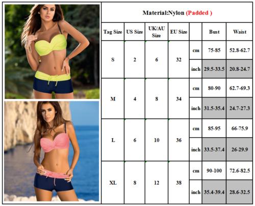 acf6c58329b72 Women Push Up Bikini Set Padded Boy Shorts Boxers Swimwear Swimsuit Bathing  Suit 2 2 of 6 ...