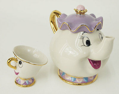 NEW Disney Beauty and The Beast Mrs. Potts Chip Tea Pot & Cup set Teapot Mug 2