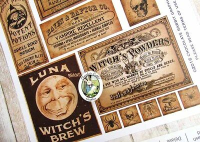Halloween Potion Labels, Vintage Style Apothecary, Uncut Sticker Sheet 14 Labels 2