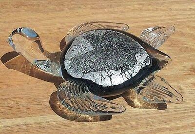 "New 7/"" Hand Blown Art Glass Turtle Sculpture Figurine Statue Black Clear"