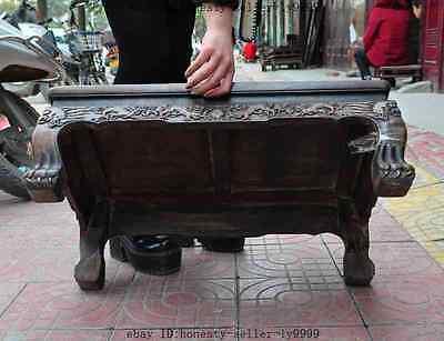 old chinese huanghuali wood carved dragon beast foo dog lion desk Tea table A 12