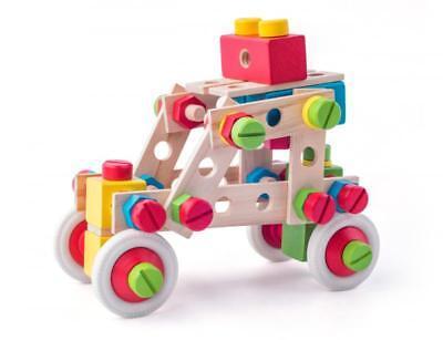 BAU KONSTRUKTIONSSET HOLZ KINDER 144 Bauteile & Schrauben Holzspielzeug # 90895 2