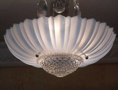 167b old Vintage aRT DEco CEILING LIGHT chandelier fixture glass Blue 3 Light