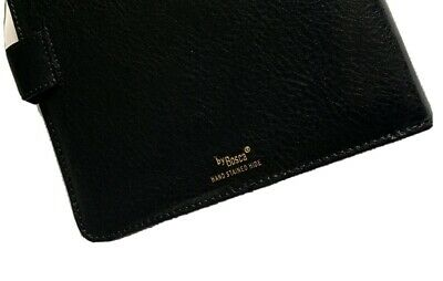 Vintage Bosca Black Leather Travel Neck Tie Case Hand Stained Hide 3