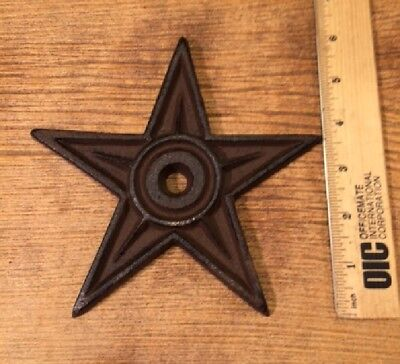 "Cast Iron Center Hole Star Anchor Plates Rustic Large 6 1/2"" wide 0170-02106 12"