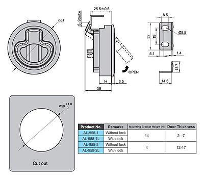 STAINLESS STEEL SLAM Latch w/Lock for 1/2''Door RV Marine BOAT Hatch M1-43-8