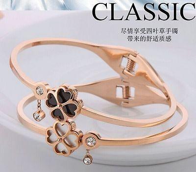 Bracelet  Lucky Fleur Doré Acier Inox Noir Joli 14mm Fin Class TR1