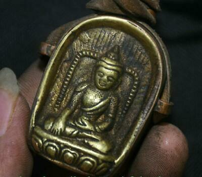 5CM Old Tibetan Bronze Buddhism Shakyamuni Amitabha Buddha Gawu Box h908 3