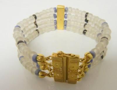 Atq Egyptian Revival Tribal Beauti Ancient Satin Glass Beads Gold Tone Bracelet