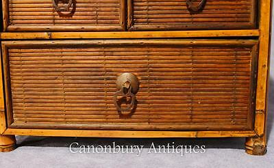Pair Chinese Antique Bamboo Chest Drawers Mini Travelling Samples 1880 3