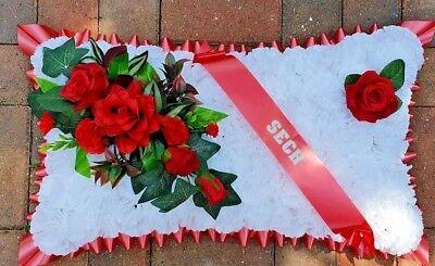 Pillow Shape Silk Artificial Funeral Flowers Wreath/Memorial/Grave/Tribute 20x12 3