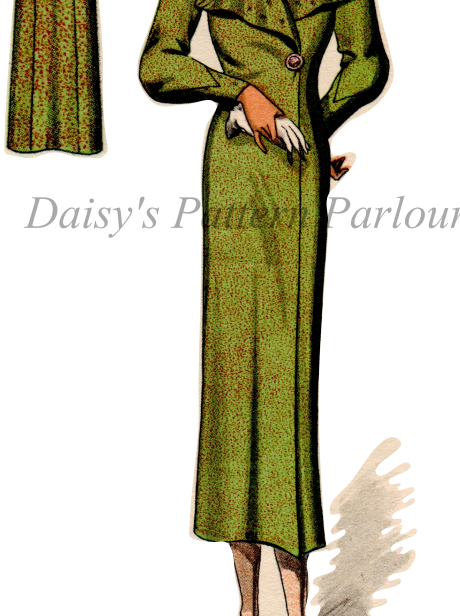 Vintage Sewing Pattern 1930s Long Coat Shawl Collar Haslam System 30s 1930 Daisy