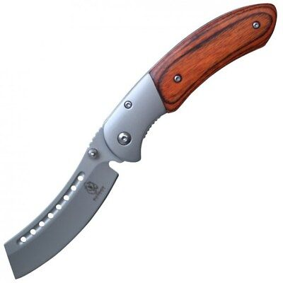 "8"" BUCKSHOT RAZOR BLADE STYLE WOOD SPRING ASSISTED FOLDING POCKET KNIFE Open EDC 3"