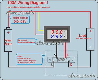 Brilliant Dc 100V 100A Car Dc Digital Voltmeter Ammeter Led Amp Volt Meter Wiring Digital Resources Lavecompassionincorg
