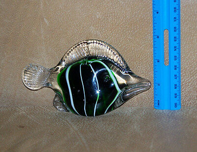 Art Glass Tropical Fish Paper Weight 2.75 In Green Hand Blown 2