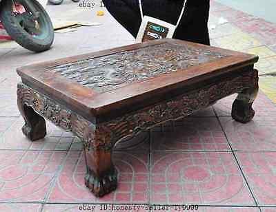 old chinese huanghuali wood carved dragon beast foo dog lion desk Tea table A 10