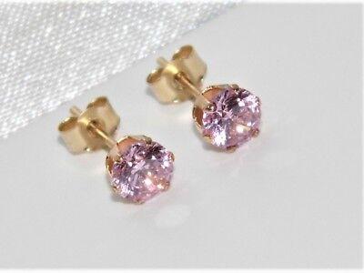 Beautiful 9ct Yellow Gold 0.50ct Pink Topaz Ladies Stud Earrings -