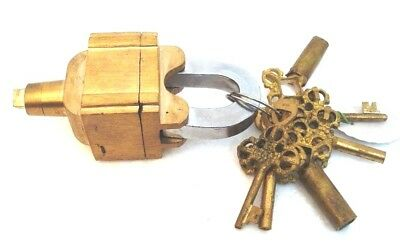Brass Padlock Square Trick Puzzle Lock  with 6 Keys 2