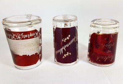 3 Krüge/ Henkel- Becher, Glas gebeizt, um 1900 AL370 4