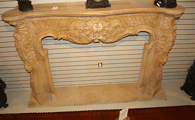 Massive French Carved Italian Marble Fireplace Mantel Mantle Surround 1940s WOW! 9
