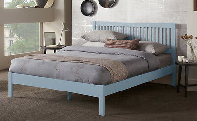 Hevea Hard Wood Bed Frame HONEY OAK Finish, OPAL WHITE, or GREY Finish Bedstead 2