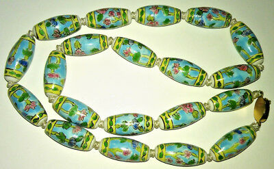 Antique Chinese Art Deco Necklace Estate Porcelain Hand Painted Large Beads Long 4