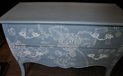 Pair French Painted Commodes Chest Drawers Shabby Farmhouse 5