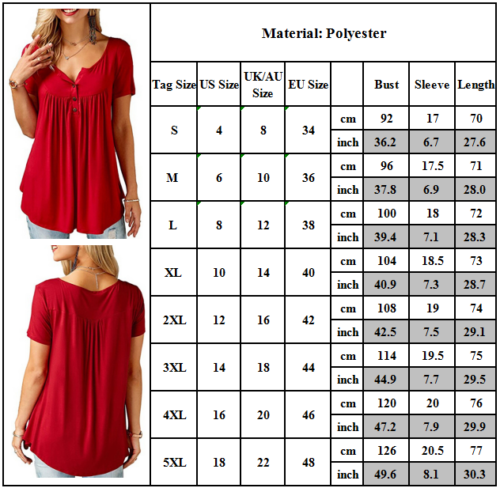 Women Ladies Summer Loose Tops Short Sleeve T Shirt Blouse Casual 8-22 Plus Size 3