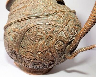 1700 Rare Copper Holy Water Pot Snake Floral Embossed Carved Water Pot Must See 12
