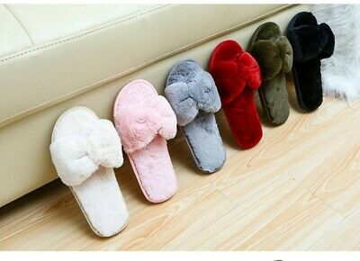Womens Plush Open Toe Slippers House Shoes Fuzzy Soft Warm Terry Cloth Indoor
